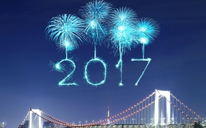 Wallpaper New Year, new year, happy, fireworks, 2017