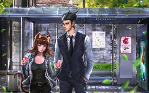 Picture girl, street, anime, the demon, art, guy, two