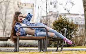 Picture look, girl, model, hair, jeans, piercing, jacket, navel, Gabriela, bench
