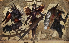 Picture Iron Inquisitor Kayle, pan gothic horror groupsplash, and Black Scourge Singed, Cursed Revenant Nocturne