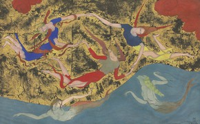 Picture 1918, pen and black ink on Golden paper, Angels and sirens, watercolor, Tsuguharu Foujita