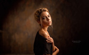 Picture look, background, model, portrait, beauty, in black, bokeh, Kseniya Kokoreva, Ksenia Kokoreva, Grigoriy Lifin