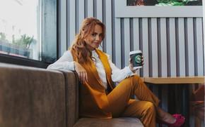 Picture Coffee, Costume, Maxim, Singer, Sitting, coffee, Maksim, Marina Maksimova, Marina Maximova