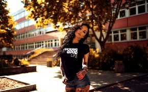 Picture autumn, the sun, trees, sexy, pose, shorts, the building, makeup, figure, brunette, tattoo, t-shirt, hairstyle, …