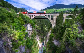Picture bridge, river, rocks, train, Switzerland, canyon, Switzerland, viaduct, Grisons, Graubünden, Solis Viaduct, Viaduct Solis, Albula …