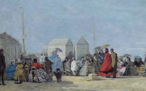 Picture people, picture, genre, Eugene Boudin, Eugene Boudin, The scene on the Beach in Trouville