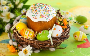 Picture flowers, eggs, Easter, cake