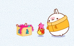 Picture holiday, toys, anime, art, New year, tinsel, Bunny, asterisk, children's, kodomo no hi, Malang