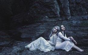 Wallpaper nature, pose, darkness, the dark background, girls, mood, rocks, shore, two, portrait, the situation, hands, ...
