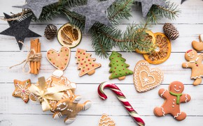 Picture men, stars, cinnamon, Christmas, winter, sweet, Xmas, celebration, decoration, Christmas trees, New year, gingerbread, ginger