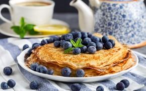 Picture lemon, kettle, pancakes, mint, blueberries