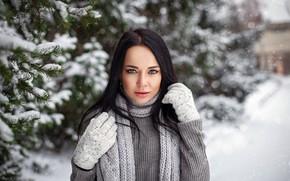 Wallpaper snowflakes, bokeh, depth of field, lips, portrait, model, long hair, looking at camera, coniferous, beauty, ...
