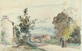 Wallpaper watercolor, The road from Versailles to Louveciennes, Camille Pissarro, figure, landscape