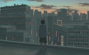 Picture roof, sunset, the city, boy