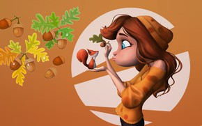 Picture girl, art, squirrel, oak, acorn, Girl and Squirrel, Nick chan