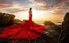 Wallpaper style, girl, dress