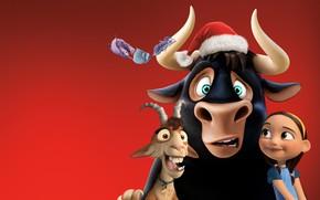Wallpaper red, goat, poster, girl, Ferdinand, bull, Ferdinand, background, hat, cartoon, horns