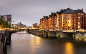 Picture lights, river, building, home, the evening, Germany, lights, channel, Hamburg