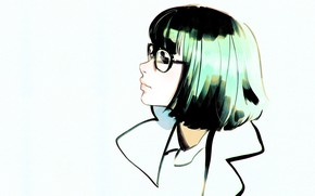 Picture haircut, glasses, collar, profile, bangs, portrait of a girl, Ilya Kuvshinov