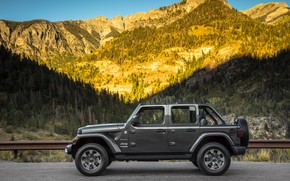 Picture forest, mountains, shadow, the fence, Parking, 2018, Jeep, dark gray, Wrangler Sahara