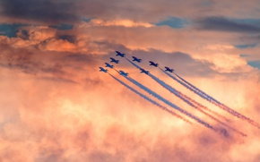 Picture red sky, red arrows, Sunderland air show