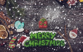 Picture snow, New Year, cookies, Christmas, wood, Merry Christmas, cookies, decoration, gingerbread, gingerbread