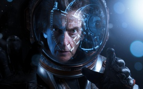 Picture face, reflection, astronaut, hands, the suit, helmet, Doctor Who, the expression, astronaut, Doctor Who, Peter …