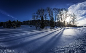 Picture winter, field, forest, the sky, the sun, clouds, snow, trees, Germany, Bayern
