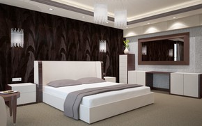 Picture flowers, design, room, furniture, bed, pillow, mirror, chandelier, vase, bedroom