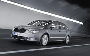 Picture grey, movement, markup, blur, 2008, lighting, the tunnel, sedan, Skoda, Skoda, four-door, Superb