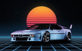 Picture Auto, Night, The moon, Neon, BMW, Machine, Art, Fiction, BMW M1, Synthpop, Darkwave, Synth, Retrowave, ...