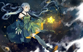 Picture space, lights, magic, star, stockings, gloves, vocaloid, long hair, Vocaloid, weightlessness, starry sky, xingchen