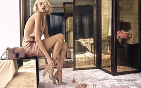 Picture girl, pose, photo, figure, dress, shoes, bag, Anja Rubik