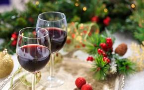Picture wine, new year, glasses, tape, decoration, decor
