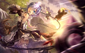 Picture white, girl, magic, blood, the demon, form, anime, the maid, art, horn, rem, re zero …