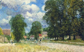 Picture landscape, picture, Alfred Sisley, Alfred Sisley, The road to Marly-Le-ROI