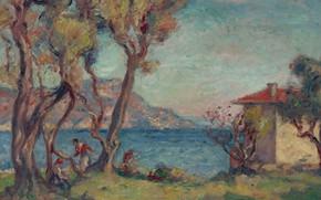 Picture landscape, picture, Georges d'espagnat, Little House on the beach