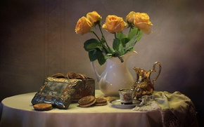 Picture roses, bouquet, kettle, cookies, still life