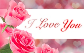 Picture flowers, background, the inscription, roses, bouquet, hearts, pink, I love You