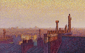 Picture picture, the urban landscape, Gustave Cariot, pointillism, Gustave Cairo, The Rooftops Of Paris. Sunset