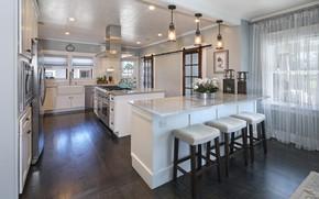 Picture table, window, kitchen, design, interior, lamps, kitchen