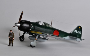 Wallpaper pilot, A6M Zero, model, carrier-based fighter, Mitsubishi, toy