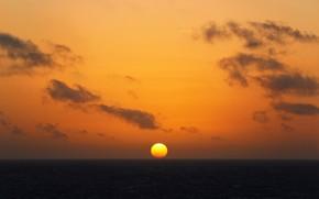 Picture sea, the sky, the sun, sunset