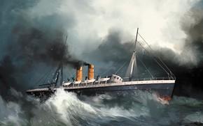 Picture stirling castle, wave, ship, Transatlantic Ships