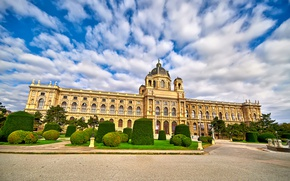 Picture the sky, clouds, trees, design, lawn, Austria, area, the bushes, Palace, Vienna, Maria Theresa Square