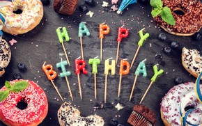 Picture candles, colorful, Happy Birthday, colours, cupcake, celebration, cupcakes, decoration, candle, Birthday