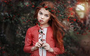 Wallpaper look, branches, berries, sprig, mood, hair, portrait, girl, freckles, red, redhead, Pauline, freckled
