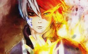 Picture look, anime, art, guy, Boku no Hero Academy, My heroic academia, Todoroki shouto