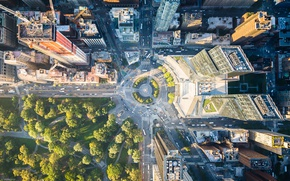 Wallpaper light, trees, the city, Park, street, home, New York, USA, the view from the top