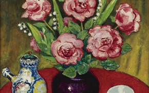 Picture oil, kettle, vase, canvas, Kees van Dongen, the bowl, Still life with roses and Lily …